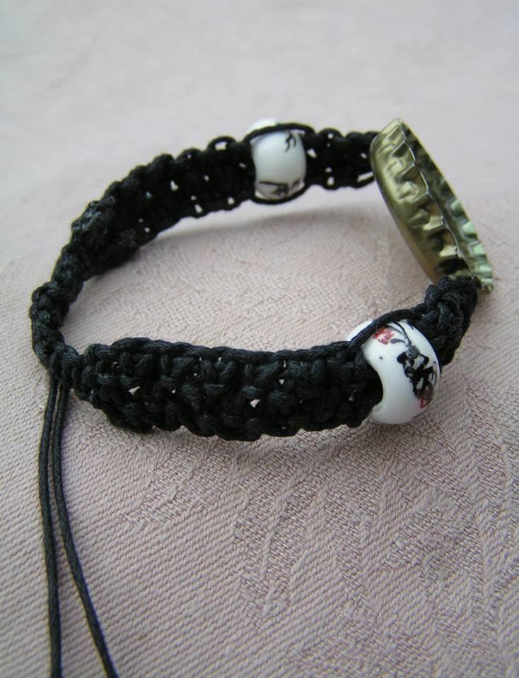 A close-up of porcelain beads