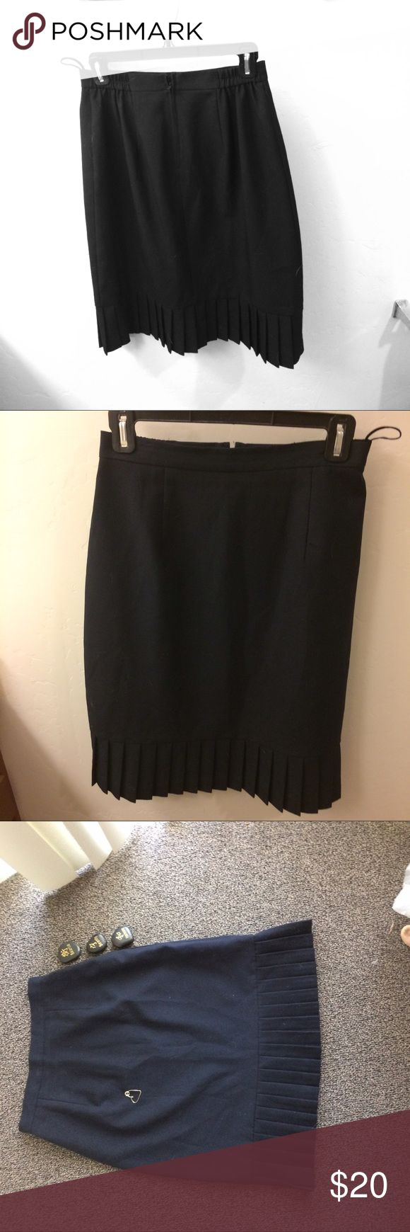 "Nordstrom brand skirt. Black Aline with 4.75 pleat Nordstrom brand skirt . Black Aline with 4.75 "" pleats at the bottom of the skirt. Size 8. Daughter wore 2x for speech and debate competition. 100% polyester. Made in Vietnam. Excellent condition. Nordstrom Skirts A-Line or Full"