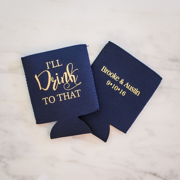 These Custom Wedding Koozies by Gracious Bridal will keep your guests' drinks cold while they watch you say I Do - graciousbridal.com