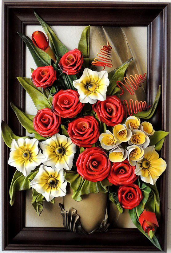 Handmade Leather Art  Flowers IN Vase     Leather Flowers   Size: (73cm x 49cm)  Frame: Solid Wood, Stained  Colors: Red, Green, Grey, Yellow,Gold, Brown  Material: Genuine Leather