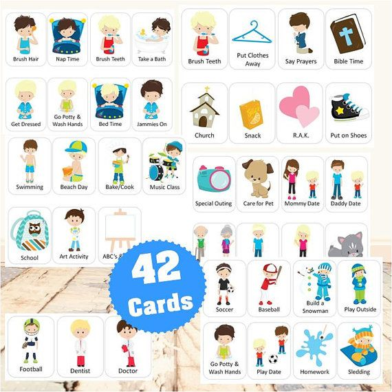 Daily Routine & Activity Cards for Boys by Bittybeginnings