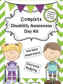 **Discounted through the month of April in honor of World Down Syndrome Day and Autism Awareness Month!!!**Easily host your own Disability Awareness Day at your school with this kit.  Holding a Disability Awareness Day is a great way to not only increase awareness, but it decreases bullying and encourages regular education students to show empathy for these students.
