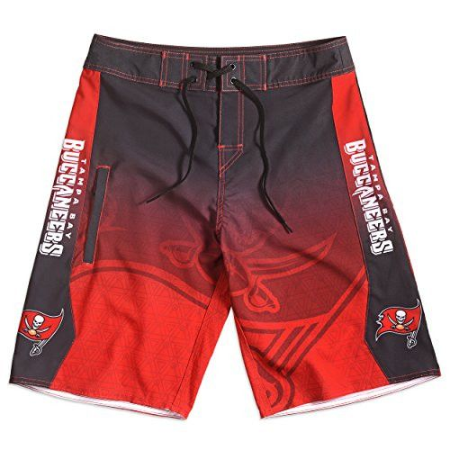 KLEW NFL Tampa Bay Buccaneers Gradient Board Shorts, Small, Red