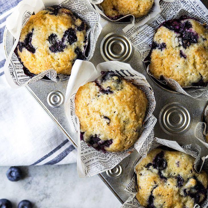 Blueberry Muffins Recipe Desserts, Breads with butter, sugar, eggs, all-purpose flour, baking powder, salt, vanilla extract, whole milk, fresh blueberries