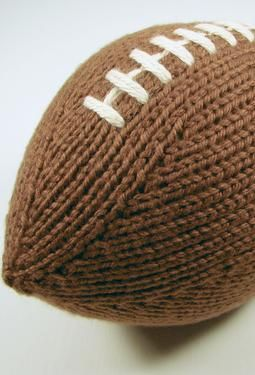7 1/2 inch stuffed football, knit in the round - no seams!