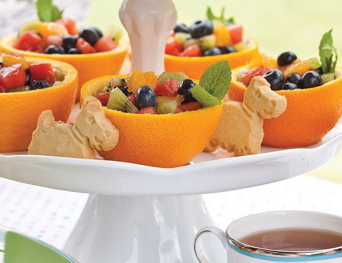 These Minted Fruit in Orange Bowls are a delectable delight.