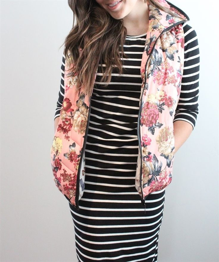 I love the look of this Floral Puffer Vest with the striped dress  - look cozy & cute! | $21.99 on Jane.com #womens #clothing