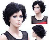 Кк 004130 мода старухи короткие волнистые черные волосы полный парики 5.2