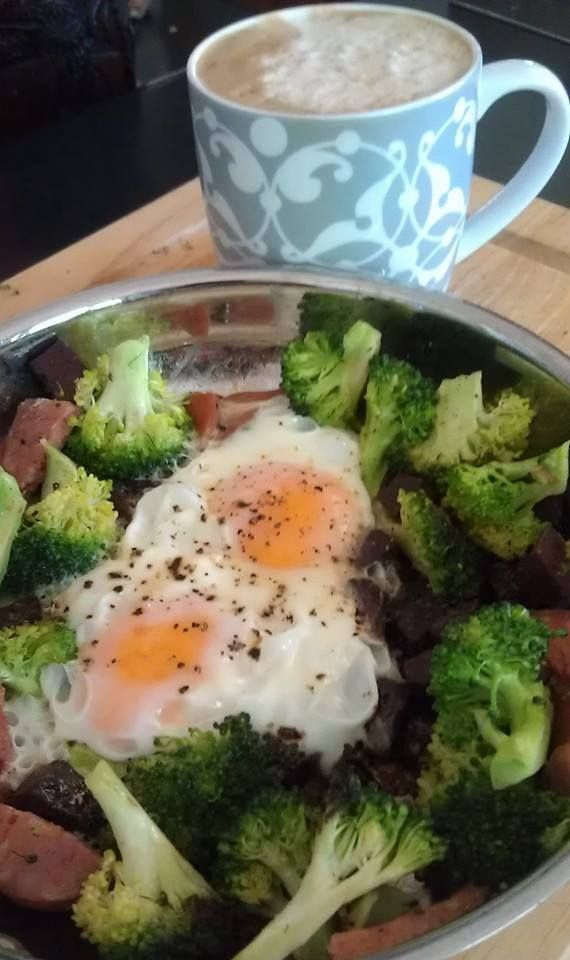Day 30 -One pan breakfast of broccoli, diced black pudding and chorizo and eggs