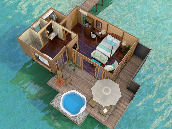 maldives beach bungalow design house floor plans | Conrad Maldives Rangali Island Hotel - King Deluxe Water ...