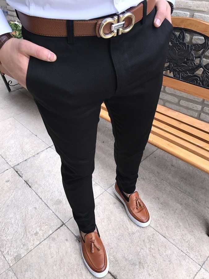 italyan stil petek desen erkek keten kumaş siyah pantolon T1561
