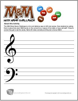 M&M Note Name Challenge - Free Note Name Worksheet (Digital Print) - Visit MakingMusicFun.net for free and premium sheet music, music lesson plans, and composer biographies and worksheets.
