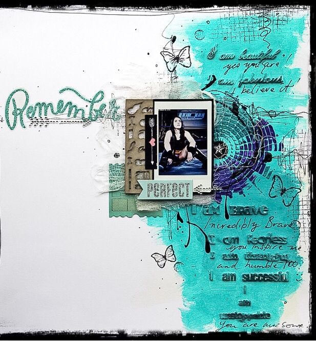 Layout completed by DT Lisa Oxley using Colour Blast Colour Pastes in Deep Water and Royalty. More images of this layout can be viewed at our blog at www.colourblastaustblogspot.com.au