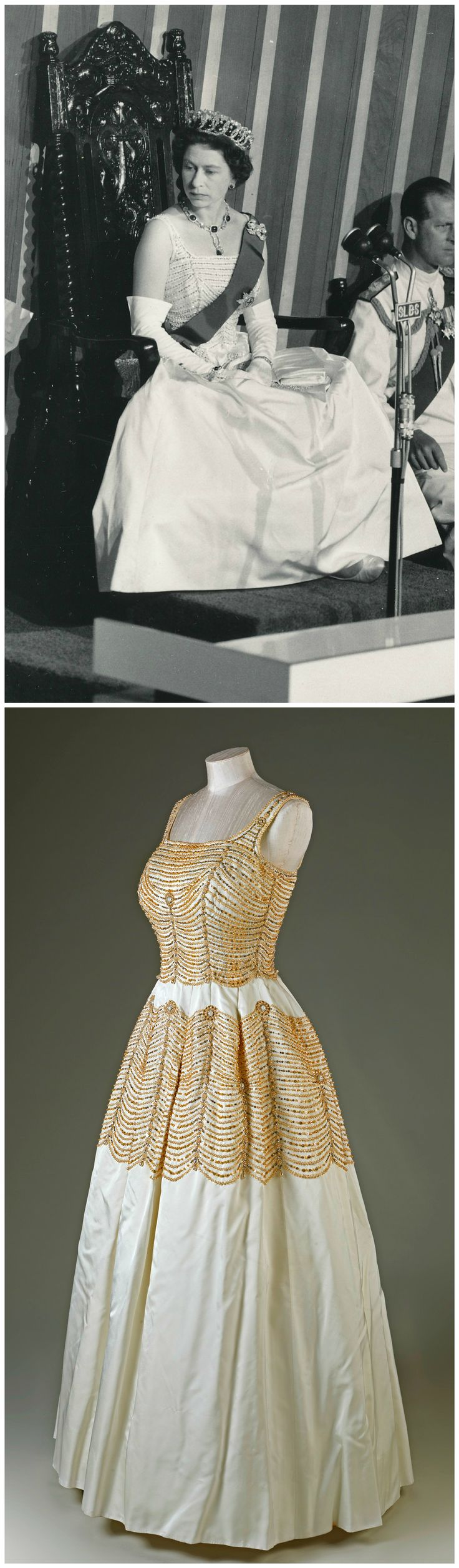 Evening gown, by Sir Norman Hartnell, 1960. Duchesse satin, pearls, sequins, beads, diamantes. Royal Collection Trust/All Rights Reserved. H.M. Queen Elizabeth II wore the gown to the opening of Parliament in Freetown, Sierra Leone, on December 12, 1961 (see above photo, via romanbenedikhanson on Flickr).