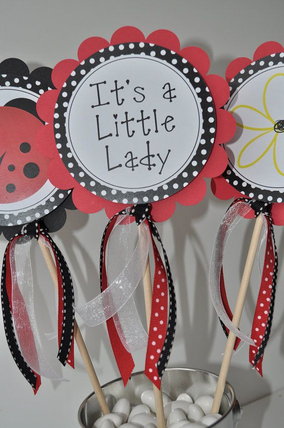 cupcake toppers... ladybug themed baby shower.