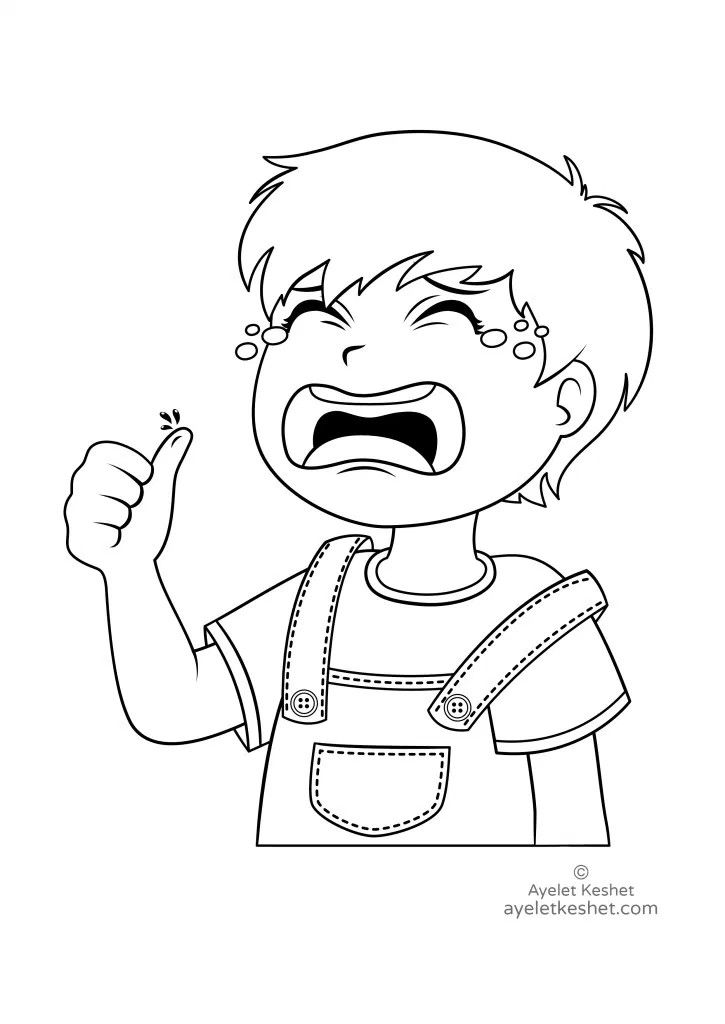 Free Educational Coloring Pages For Kids Feelings Child Crying