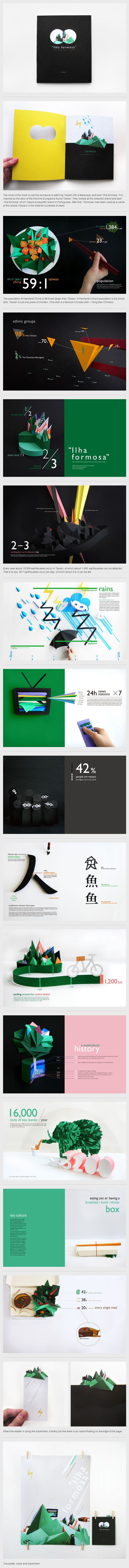 Ilha Formosa imagery inspiration. Gorgeous use of real objects and folded paper to show simple shapes, like a 3d infographic.