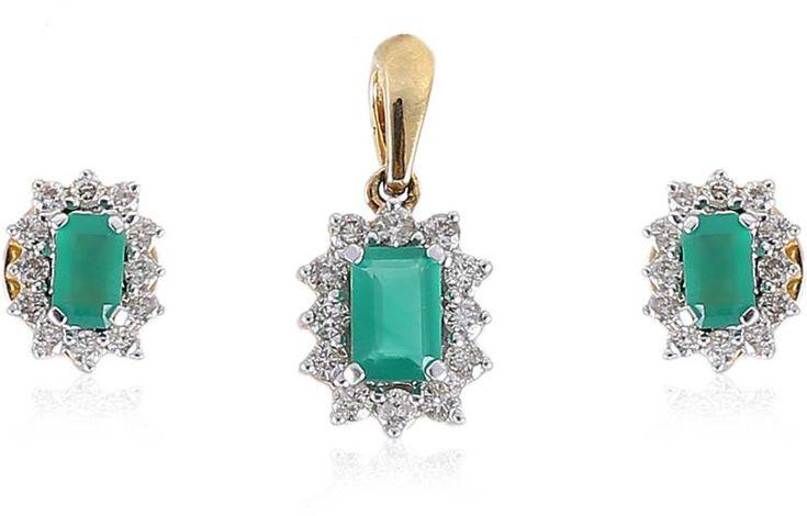 Jisha Yellow Gold 14kt Diamond, Emerald Earring & Pendant Set