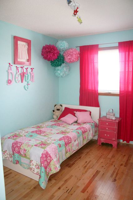 Blue and pink big girls room. Love the tissue Pom poms!
