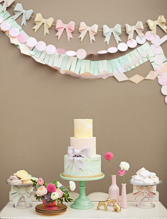 cute watercolour cake display