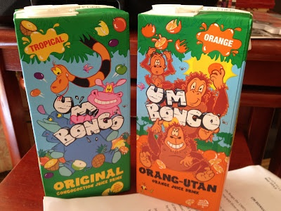 """Um Bongo Original (And Orang-utan)  Way down deep in the middle of the Congo, a hippo took an apricot, a guava and a mango. He stuck it with the others, and he danced a dainty tango. The rhino said, """"I know, we'll call it Um Bongo"""", Um Bongo, Um Bongo, They drink it in the Congo."""