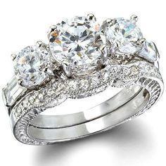 2.85CT Women's Diamond Simulated Wedding Ring Set Engagement Ring Wedding Band Bridal Set 925 Sterling Silver Platinum ep CZ Eternity Ring #UniqueEngagementRings #WeddingRing