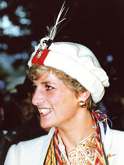 The Princess wore this gifted uniform by the Chitral Scouts while on a September 1991 visit  near Peshawar, Pakistan.