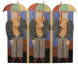 Barry Lett, 'The Umbrellas' (2012) Acrylic on reassembled plywood, 1089 x 1625 mm, POA at the Remuera Gallery