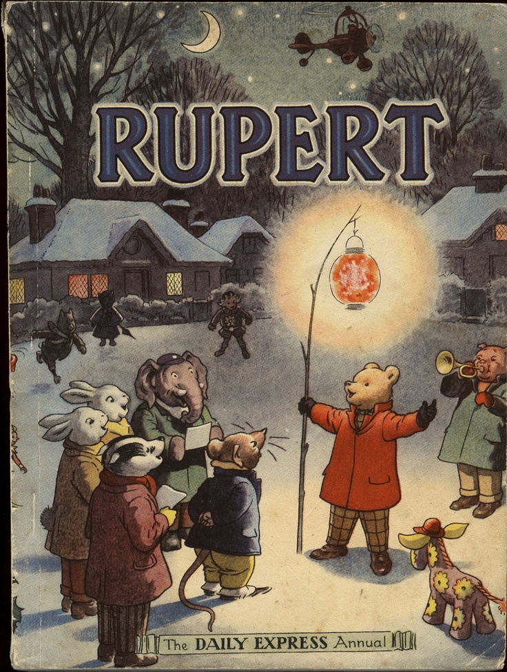 Alfred Bestall - Rupert annual - Daily Express, 1949. As a child, my Christmases would never have been the same without the annual book of Rupert's adventures. I adored him, and his pals Edward Trunk, Algy Pug, Bill Badger, Ping Pong, Tiger Lily, Sailor Sam, The little Gypsy Boy, etc etc.