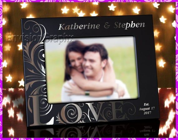 5x7 Personalized Custom Engraved Love Theme Couples Metal Picture