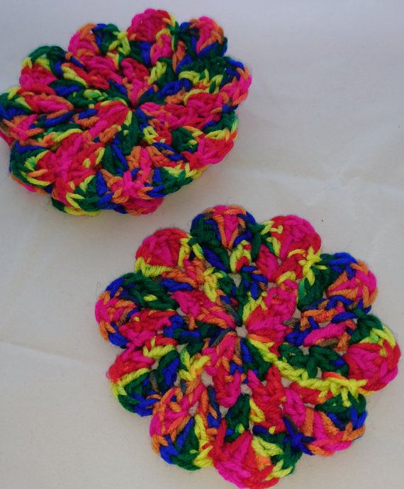 Crochet Coasters Set of 4  Décor  Multi Colour  by TheWoolLadyUK