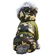 Katte+/+Hunde+Frakker+/+Hættetrøjer+/+Dragter+Rød+/+Orange+/+Grøn+/+Blå+/+Brun+/+Pink+Hundetøj+Vinter+camouflageMode+/+Hold+Varm+/+–+DKK+kr.+96