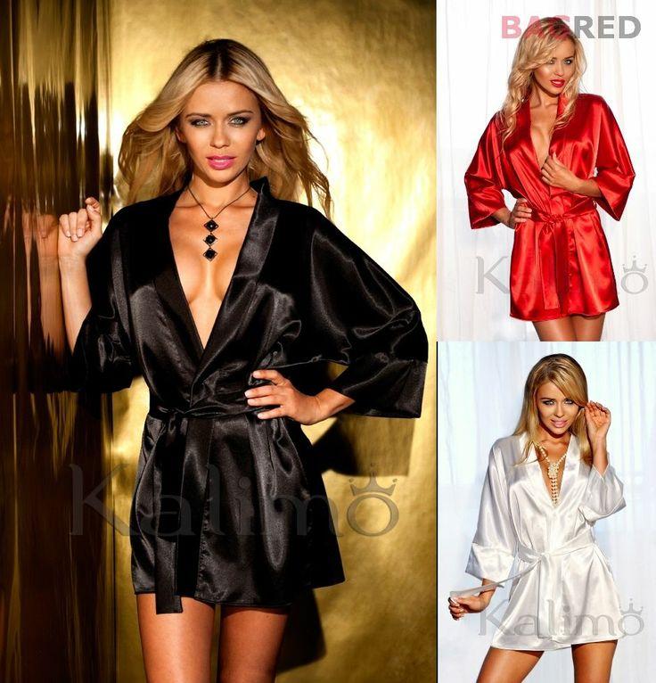 Hot Satin Robe Bathrobe Gown PANAMA Luxury Sleepwear Kimono Nightdress