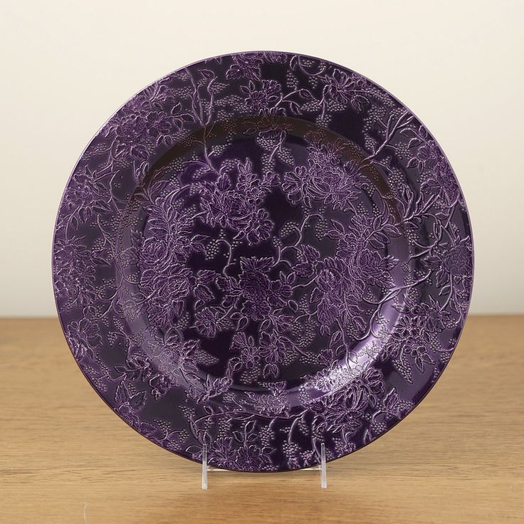 Absolutely beautiful antique embossed purple charger