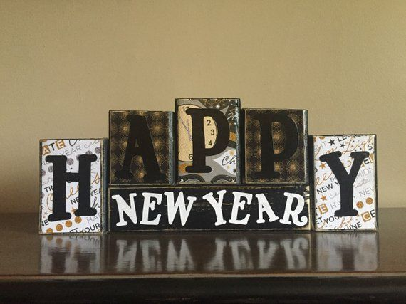 Wood Happy New Year Blocks Wood New Years Sign Happy New Year Sign Mantel Decor New Ye Happy New Year Signs New Years Eve Decorations New Years Decorations