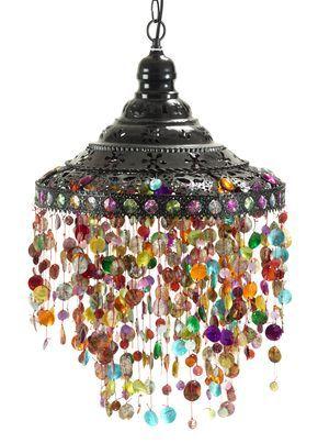 Beaded Hanging Lamp -