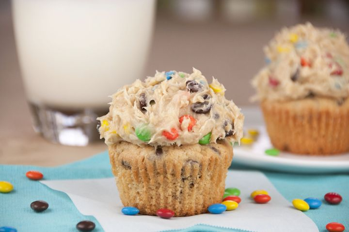 Monster Cookie Dough Cupcakes | Wishes and Dishes