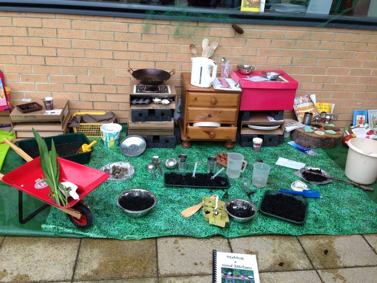 """Mud kitchen"" set up from @leedsearlyyears conference"