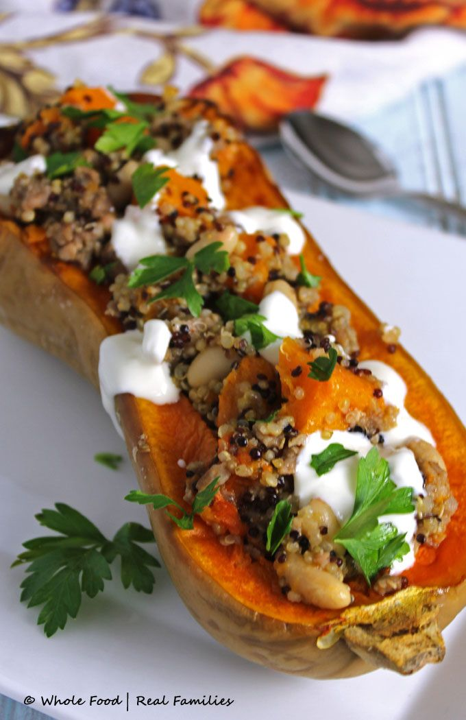Sausage Quinoa Stuffed Butternut Squash - Whole Food | Real Families. A hearty healthy dinner recipe, elegant enough for company but easy enough for a weeknight meal.