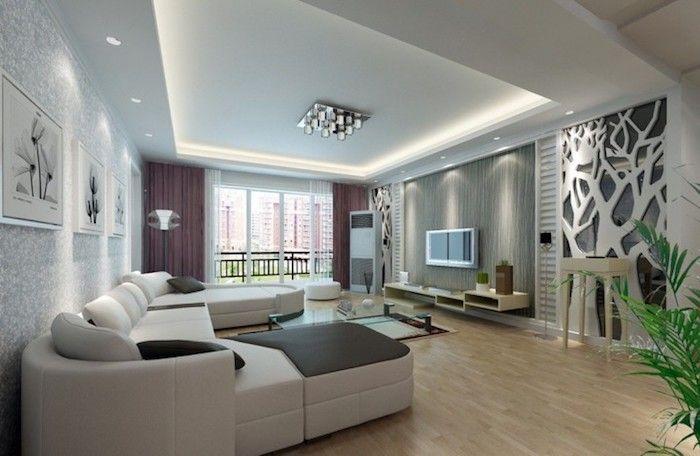 Wohnzimmer Ideen Boden Aus Holz Abgehangte Decke Mit Led Lila