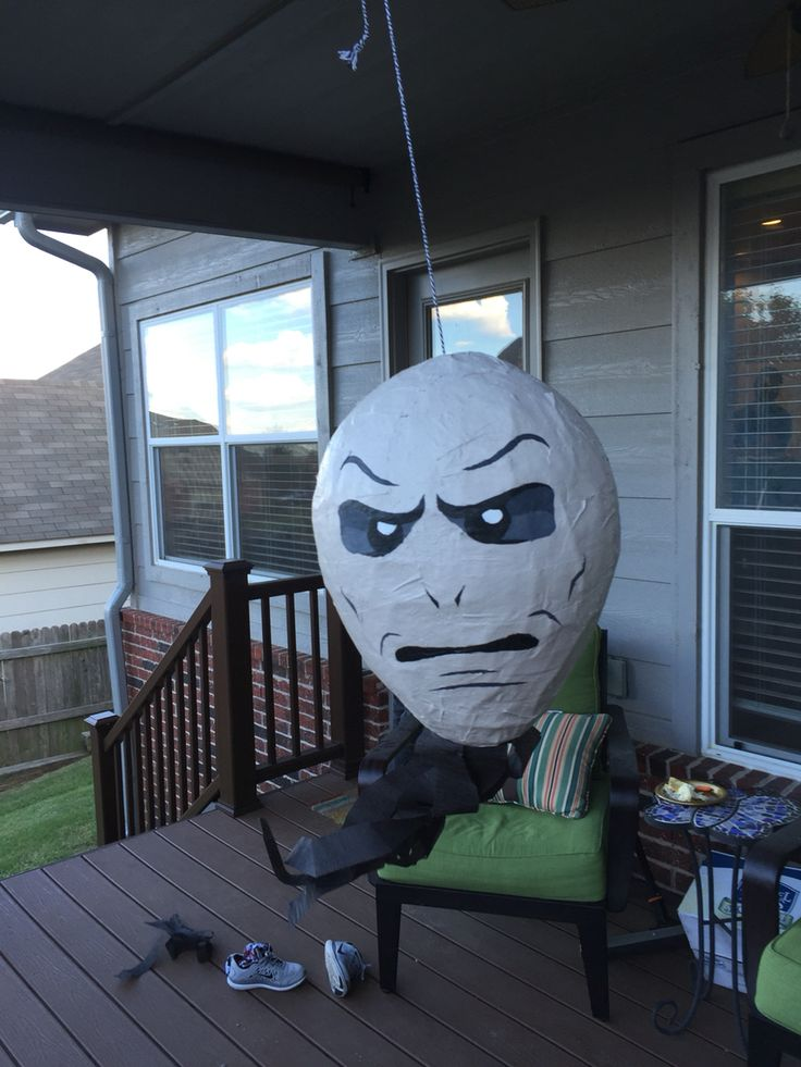 Harry Potter party. Voldemort piñata. Nothing better than beating the Dark Lord.