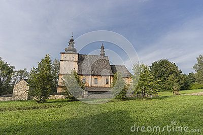 Country road to  Catholic Church in open-air museum in Nowy Sącz   . Poland