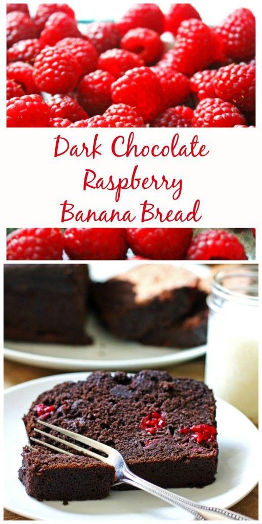 Dark Chocolate Raspberry Banana Bread ~ So delicious and moist...perfect dessert or weekend breakfast treat!