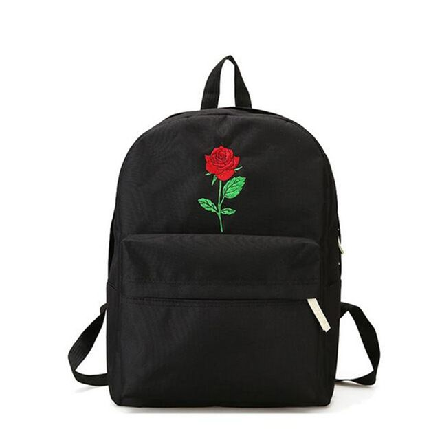 Promo $13.25, Buy Men And Women Canvas Rose Flower Embroidery Cute Backpack Student Teenage Girls School Bags Travel Shoulder Bag Black Rucksack