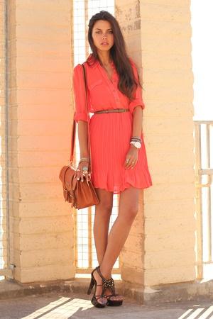 coral chiffon pleated dress