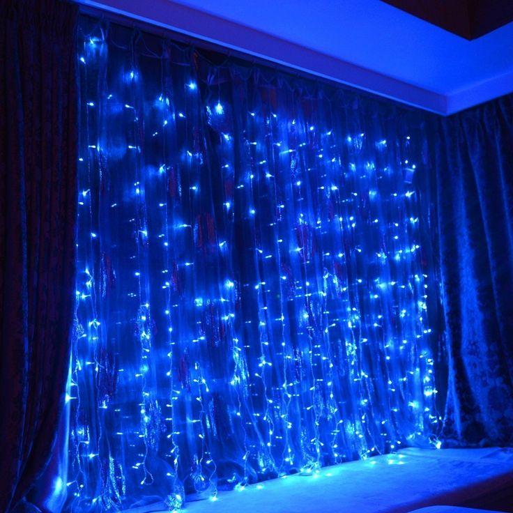 PuTwo BLUE Led Party Lights 9.8ft9.8ft 304 LEDs Lights Decorating Holiday Wedding Curtain Lights Icicle String Lights