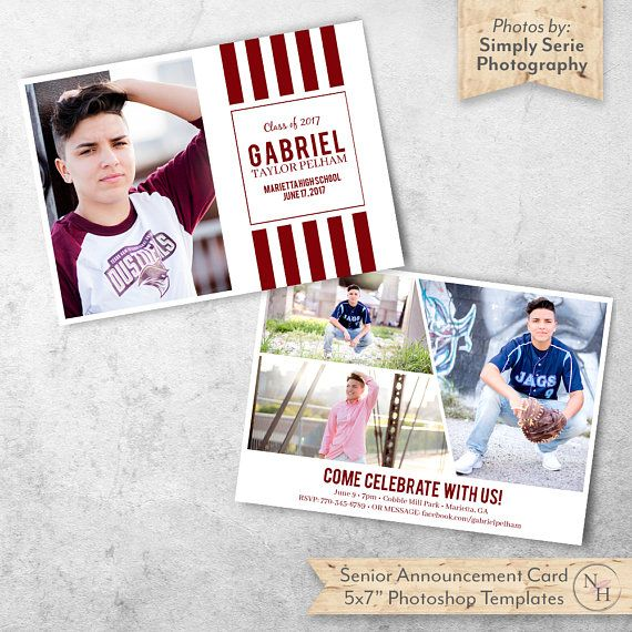 Guys Graduation Announcement, Graduation Card, Senior Announcement Template, Photography Marketing, Photoshop Template, Instant Download by NovemberHouse