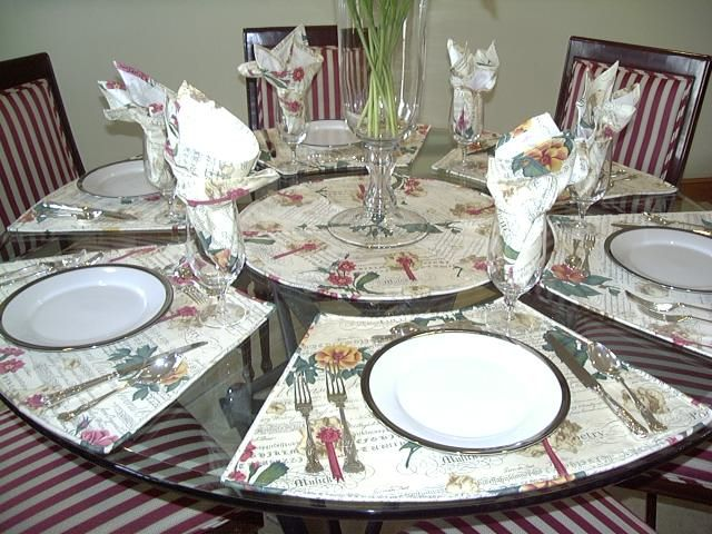 Delightful Placemats With Round Topper U0026 Napkins