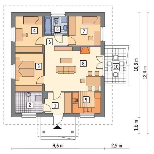 Rzut parteru POW. 79,8 m²