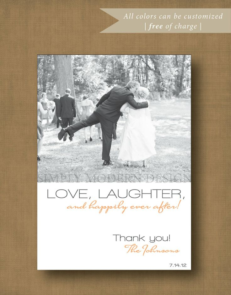 how to write thank you notes for wedding gift cards%0A One Sided Printable Modern and Simple Wedding Thank You Card  Custom  Colors  Digital File